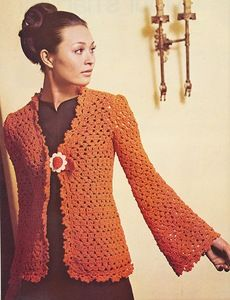 Rust Cardigan free crochet graph pattern