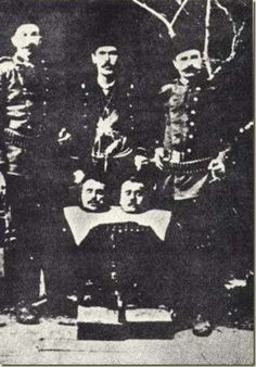 The Recognition of the genocides as the beginning of justice against the crimes against humanity and barbarity - Turkish soldiers posing proudly with heads of their victims. Armenian History, Armenian Culture, Turkish Soldiers, Psychological Warfare, Turkish People, The Deed, Ottoman Empire, Historical Photos, Crime