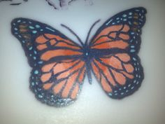 Hand painted butterfly on fondant.