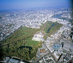Aerial photography photography of Green park, St. James' Park and Buckingham Palace. London