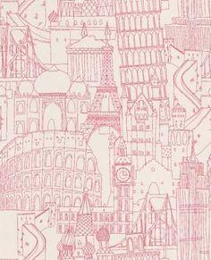 Clarke & Clarke Wallpaper Globetrotter Pink W0015/04