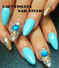 #nails #nailart #nailporn #gelnails #gelpolish #manicure #art #turquoise #gold #bling #rhinestones #gem #glitter #nailideas #trendynails #nailswag #spring #summer #colours