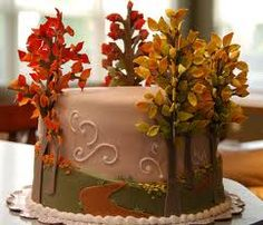 cake with autumn trees - I love it. Add a silhouette at the end of the path of two people holding hands, or kissing - instant wedding cake. Bolo Fondant, Fondant Cakes, Cupcake Cakes, Pretty Cakes, Beautiful Cakes, Amazing Cakes, Thanksgiving Cakes, Tree Cakes, Forest Cake