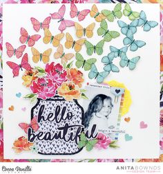 Nothing better then beautiful rainbow butterflies and flowers don't forget to check out my process video 💐🦋🌈 Scrapbook Sketches, Scrapbook Page Layouts, Photo Layouts, Scrapbook Designs, Baby Scrapbook, Scrapbook Cards, Scrapbook Supplies, Scrapbooking Ideas, Rainbow Paper