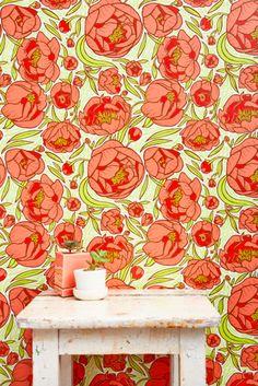 Peonies wallpaper self sticking; Chasing Paper