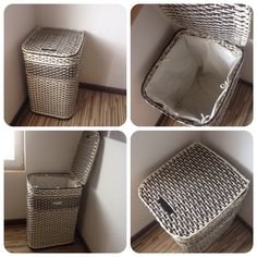 Laundry basket from paper rolls