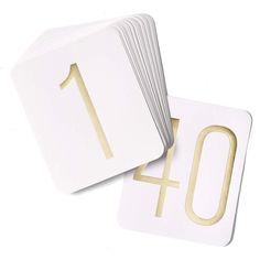 Gold Foil Table Number Set (Hortense B Hewitt 23450) | Buy at Wedding Favors Unlimited (http://www.weddingfavorsunlimited.com/gold_foil_table_number_set.html).