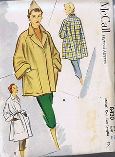 McCall's Pattern  Pattern Number 8430  Copyright: 1951    Vintage 50s Misses Jacket Coat Pattern    Flared back Coat pattern with notched collar, large wide cuffs and over-sized patch pockets.  The swing Jacket Coat is featured in two lengths.