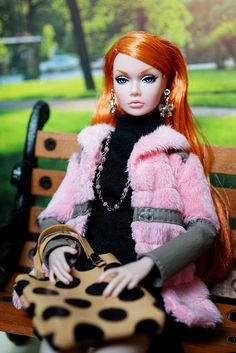 Pink fur and polka dots bag. poppy parker fashion doll