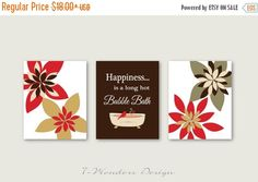 Modern Bathroom Art Prints Happiness is a Long Hot Bubble Bath // Brown, Tan, Red - Bathroom Decor- Set of or Unframed Pictures For Bathroom Walls, Bathroom Wall Art, Modern Bathroom, Burst Bubble, Bubble Bath, Different Shades Of Red, Red Olive, Long Hots, Picture Wall