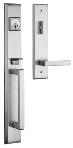 rockwell lumina entry door handle set in brushed nickel finish retrofits into 6 different bottom screwhole