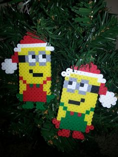 Santa's Minions perler beads by PerlerQueen Minion Christmas, Christmas Crafts For Kids, Xmas Crafts, Hama Beads Design, Hama Beads Patterns, Beading Patterns, Christmas Perler Beads, Christmas Ornaments, Minion Craft