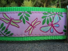 Sale Large Dog Collar Pink Dragonfly 1.5 wide by fairytailcollars
