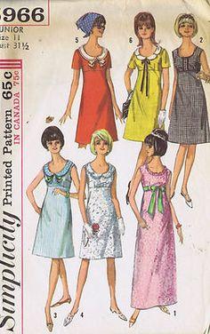 Simplicity 60's One Piece Dress, A line Dress with empire waistline has back zipper