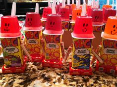 Finally made the juice box robots. 28 of them for sons birthday treat. Had to use glue dots for everything but spoon. Scotch tape for that. I hope kids can get robots apart.