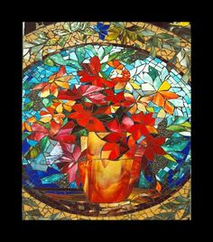 glass mosaic of bird of paradise flowers