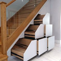 Awesome Small Cupboard Under Stairs Storage Ideas Under Stairs Drawers, Cabinet Under Stairs, Stair Drawers, Space Under Stairs, Cabinet Drawers, Bed Under Stairs, Storage Cabinets, Wooden Staircases, Wooden Stairs