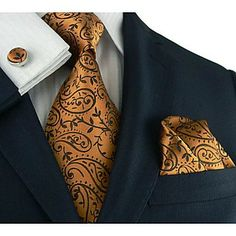 Herren Landisun Bronze COPPER Paisleys Seidenkrawatte Set: Krawatte Manschettenknöpfe Taschentuch Landisun Exclusive – EUR € 27.71