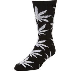 Huf Plantlife Lite Crew Sock Black ($15) ❤ liked on Polyvore featuring men's fashion, men's clothing, men's socks, accessories, black, men, mens crew socks and mens socks