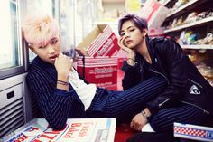 Namjoon & Taehyung - WoH edition - my eyes would eat this everyday if possible. Heavy handed color saturation, eyeliner & all.