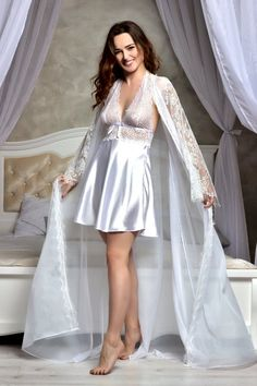 White bridal peignoir set Bridal lingerie wedding night Short babydoll nightgown and lace robe Bridal shower gift for a friend Jolie Lingerie, Satin Lingerie, Bridal Lingerie, Women Lingerie, Bridal Nightwear, White Bridal, Bridal Lace, Vestido Baby Doll, Wedding Night Lingerie