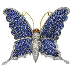 Large Butterfly Brooch, Sapphires Diamonds on Gold                                                                                                                                                      More