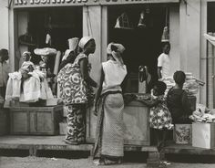 Paul Strand- Picture of women shopping at a fabric store in the market in Accra, Ghana