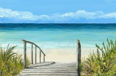 Art print 810 Sea View 147 ocean beach from painting by Lucie Dumas Seascape Paintings, Landscape Paintings, Beach Canvas Paintings, Landscape Art, Art Plage, Beach Art, Ocean Beach, Ocean Sunset, Ocean Art