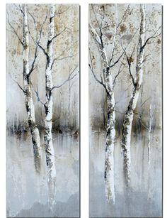 Uttermost Birch Tree Panel Art Set/2