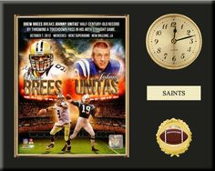 One 8 x 10 inch New Orleans Saints photo of Drew Brees inserted in a gold slide-in frame and mounted on a 12 x 15 inch solid black finish plaque.  Also features a 3-inch Arabian gold-faced clock, a customizable nameplate* and a 2-inch football medallion with a gold base.  $59.99 @ ArtandMore.com