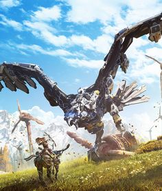 """Horizon Zero Dawn - by luc de haan """"Marketing art made for Horizon Zero Dawn. As always, props to the team at Guerrilla Games for making this awesome IP. Horizon Zero Dawn Robot, Horizon Zero Dawn Aloy, Horizon Zero Dawn Wallpaper, Armas Wallpaper, Shadow Of The Colossus, Robot Concept Art, Video Game Art, Aliens, Videogames"""