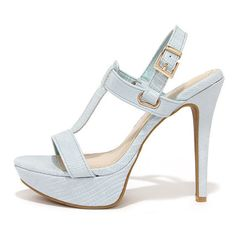 Ballroom Bliss Powder Blue Lizard High Heel Sandals ($36) ❤ liked on Polyvore featuring shoes, sandals, blue, high heel platform sandals, strappy high heel sandals, high heels stilettos, blue sandals and t strap shoes