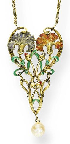 AN ART NOUVEAU GOLD, ENAMEL AND PEARL PENDANT NECKLACE   The openwork foliate plaque centering upon two carnations, in rose and lavender enamel, enhanced by rose and lavender buds, green enamel leaves, and gold scrollwork, suspending a baroque pearl drop, from an oval link gold chain, mounted in gold, circa 1900, 16½ ins., (with additional links for extension) 20¼ ins., the chain with French assay marks   The pearl has not been tested to be of natural origin