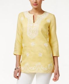 Charter Club Embroidered Linen Tunic, Only at Macy's   macys.com