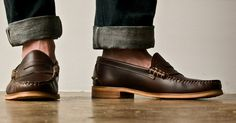 Brown Penny Loafers and Cuffed Jeans. Men's Spring Summer Fashion.