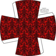 LARGE PRINTABLE SET- Vermelho Arabesco e Preto – Kit Completo com molduras para convites, rótulos para guloseimas, lembrancinhas e imagens! | Fazendo a Nossa Fes...