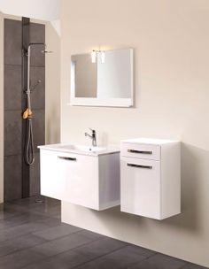 Set Mobila / Mobilier Baie modern mdf lacuit gri si alb  MYSTIC  2 | #Mobila Vanity, Bathroom Vanity, Bathroom