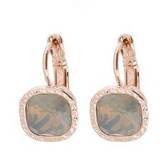 Ohrringe ROSEGOLD - hängend mit Schmuckstein in GRAU ❤ Quadratische Ohrhänger ✓ mit hochwertigem Brisurverschluss ✓ verschiedene Farben. Jetzt ansehen! rose gold earrings grey