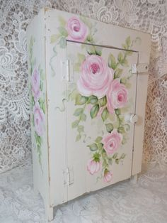 MOST ROMANTIC CABINET EVER hp roses chic shabby vintage cottage hand painted art   Artist D.Sommers  ebay I.D. sunny-sommers
