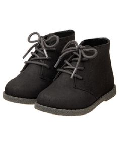 d2e633f8ecfe Details about NWT Gymboree Faux Suede Black Ankle Boots Lace-Up Shoes  Toddler Boy Sizes 13   1