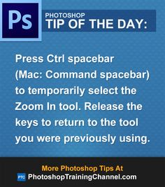 Press Ctrl spacebar (Mac: Command Spacebar) to temporarily select the Zoom In tool. Release the keys to return to the tool you were previously using.