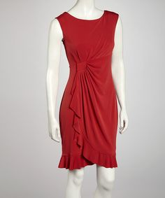 Take a look at this Red Side Drape Sleeveless Dress by AA Studio on #zulily today! $21.99