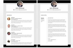 black version of the john alexander resume template timeline colored