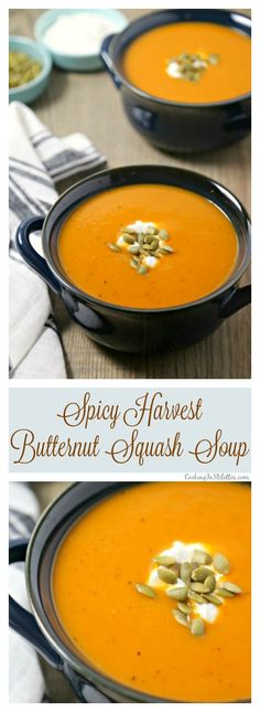 This velvety smooth Spicy Harvest Butternut Squash Soup from http://CookingInStilettos.com is packed with the flavors of autumn with fresh butternut squash, apple and pear with a hint of spicy heat! This delicious butternut squash soup recipe will be a holiday favorite and is so easy to make | @CookInStilettos