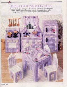 Plastic Canvas Miniature Doll House Kitchen Furniture