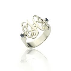 Birthstones Monogram Ring For Women Sterling Silver. Monogram  JewelryMonogram RingsMonogram InitialsPersonalized JewelryName ... 85aa199eaf3a