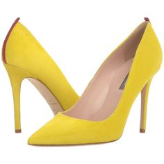 SJP by Sarah Jessica Parker Fawn 100mm (Fleek Yellow Suede) Women's... ($350) ❤ liked on Polyvore featuring shoes, pumps, high heeled footwear, high heel shoes, pointed toe high heel pumps, pointy-toe pumps and suede shoes