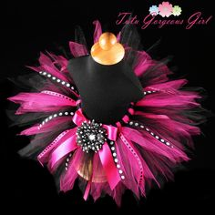 Hot Pink & Black Birthday Ribbon Tutu...Polka Dot Ribbon Streamers...Photo Prop...10 Inch Length...Sizes 6 Months to 4T . . . DIVA PARTY. $36.00, via Etsy.