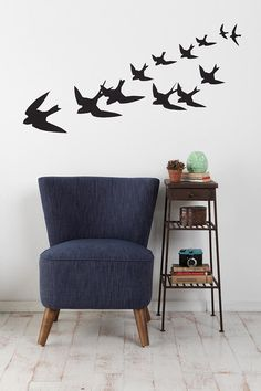 Anne Cahsens Freedom Birds Wall Decal  ......Wall decals are always a great way to spice up a plain wall. One of my favorite past times is bird watching. This decal is a great way to bring the outdoors inside the home.