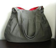 Grey Canvas Pleated Bag with Adjustable Strap, via Etsy.